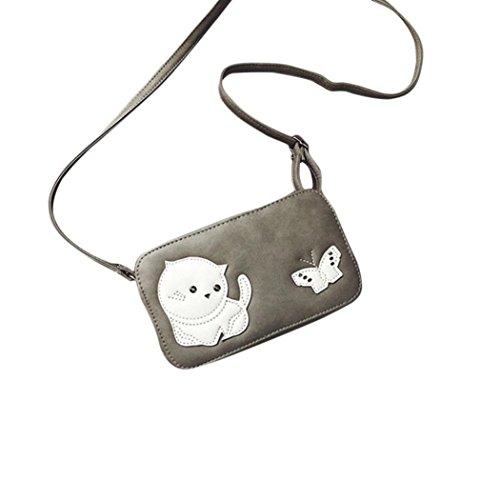 Sac d'épaule, FeiTong Baonoop Femmes sac à main Vintage sac cuir Croix corps Sac Messenger Gris