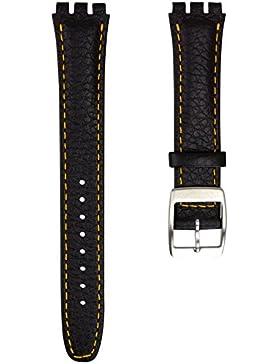 Echtleder Uhrenarmband von Geckota® hergestellt für Swatch Uhren mit Edelstahl Dornschließe, Schwarz und Orange...