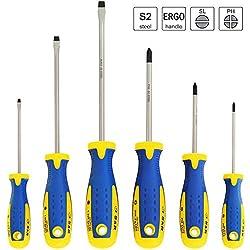 S&R Schraubendreher Set 6-teilig magnetisch, Kreuzschlitz und Schlitz, Power-Form Schraubendrehersatz mit angepasstem Ergo-Hand-Griff