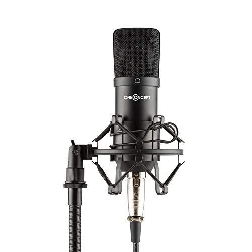 oneConcept Mic-700 micrófono de Estudio - Micrófono Condensador , para Gaming , hasta 140 dB , Ø 34mm , Araña de micrófono , Resiste el Viento , XLR , Metal , para Grabar Voz o Instrumentos , Negro