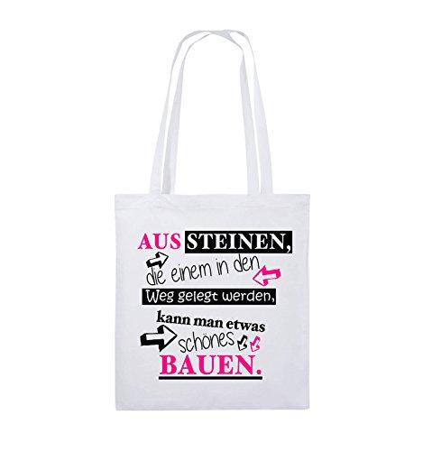 Comedy Bags - Aus Steinen, die einem in den Weg gelegt werden, kann man etwas schönes Bauen. - Jutebeutel - lange Henkel - 38x42cm - Farbe: Schwarz / Weiss-Neongrün Weiss / Schwarz-Pink