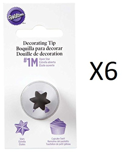Wilton Open Star Tip #1M Icing Nickel Plated Brass Fits Large Coupler (6-Pack) Open Star Tip