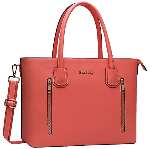 Laptop-Tasche, 38,1-39,6 cm (15-15,6 Zoll) Arbeitstasche, Laptoptasche, Schultertasche mit gepolsterter Tasche, groß, Violett 15.6 inches korallenrot -