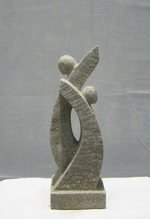 Moderne Gartenfigur 30 cm neu Skulptur aus Natur Sandstein