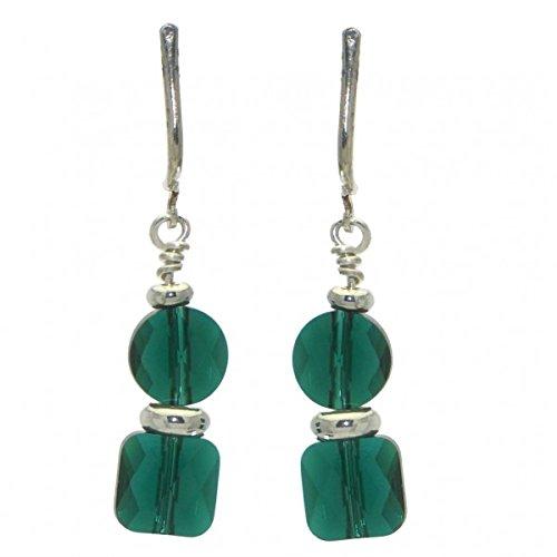 et Emerald Kristall-Clip auf Ohrringe (Emerald Green Ohrringe Modeschmuck)