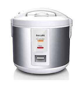 Philips HD3011/08 Rice cooker petite capacité, 1L, 500W, 900g riz, panier vapeur, revêtement couleur métal, maintien au chaud 12h