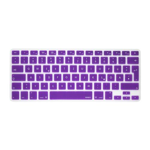 MiNGFi Deutsche Tastatur Silikon Schutz Abdeckung QWERTZ für MacBook Pro 13, 15, 17 Air 13 Zoll EU Keyboard Layout Silicone Cover - Lila