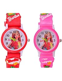 Shocknshop Kids Pink Red Color Children's Wrist Watch for Boys and Girls Pack of 2 -W231P_PU