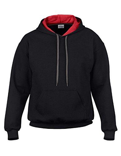Gildan Heavy Blend Contrast Kapuzenpullover (XL) (Schwarz/Rot) XL,Schwarz/Rot (Jersey Sweatshirt Xl Kapuzen)