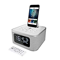 MAJORITY Neptune Speaker 20W Docking Station Bluetooth Alarm Clock FM Radio Lightning Dock for iPhone 5 5S 5C 6 6+ 6S 7 7+ 8 8+ X XR XS iPad Air Mini iPod (White)