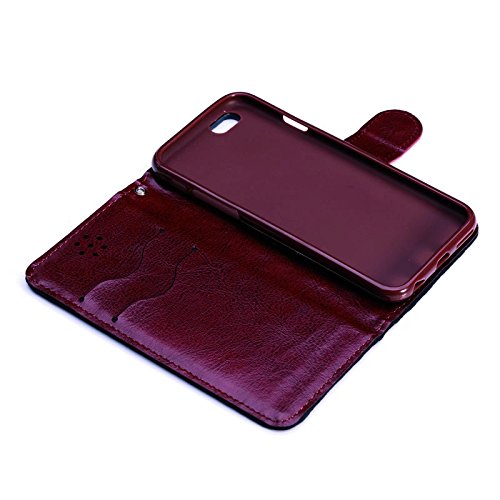 "inShang Hülle für Apple iPhone 6 Plus iPhone 6S Plus 5.5 inch iPhone 6+ iPhone 6S+ iPhone6 5.5"", Cover Mit Modisch Klickschnalle + Errichten-in der Tasche + GRID PATTERN, Edles PU Leder Tasche Skins E grid red"