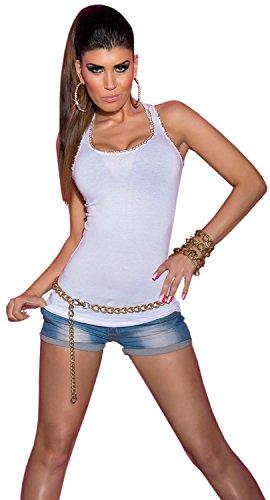 Koucla bretelles-top pour femme avec strass doré chaîne & taille unique (32–38) Blanc - blanc