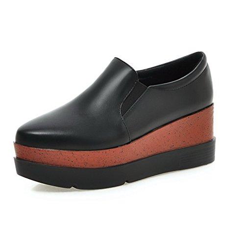 AgooLar Femme Tire Pointu à Talon Haut Pu Cuir Couleur Unie Chaussures Légeres Noir