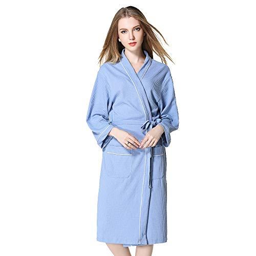 UJUNAOR Damen Plus Größe Einfarbig Bademantel Nachthemd Geschenk für Freundin(Blau,CN XL)
