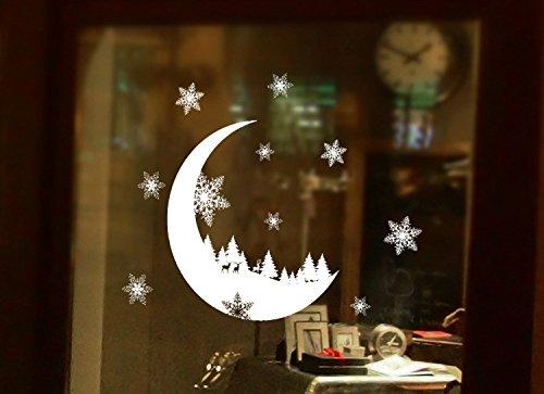 Keepforeverlove Display Fenster Aufkleber, 2Pcs Weihnachten Brilliant Weiß Fenster Glas Sticker für Balkon Schiebetür Display Fenster Home Decor Wasserdicht Deko Fenster Film schneeweiß (Ideen Deko Halloween-balkon)