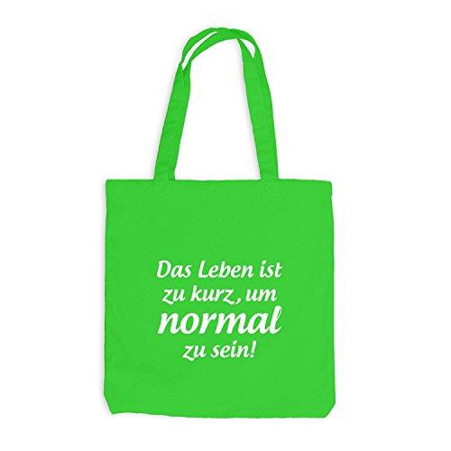 Jutebeutel - Das Leben ist zu kurz, um NORMAL zu sein! - Sprüche Hellgrün