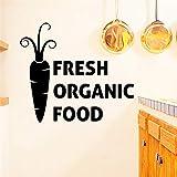 Creativo Fresco Alimenti biologici Lettere Nero Stickers murali Cucina Home Decor Carota Modello Adesivi murali Carta da parati in vinile Fai da te Poster