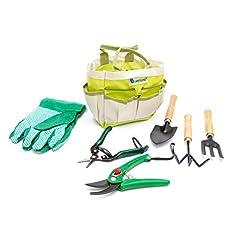 Idea Regalo - Lantelme 5124 Piante/Set attrezzi da giardino con borsa poliestere/metallo/legno 7 pezzi
