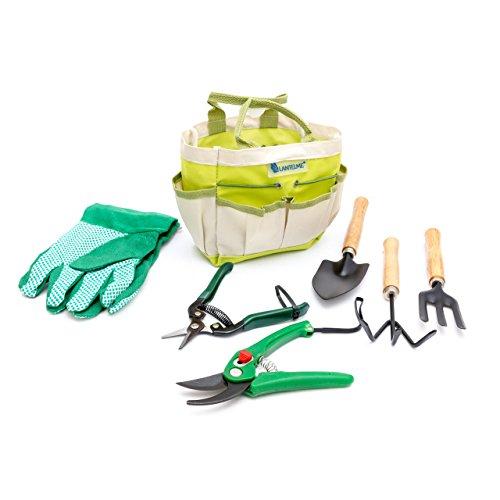 Lantelme Pflanzen/Garten Werkzeug Set mit Tasche Polyester/Metall / Holz 7-teilig