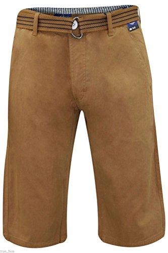 New Mens Kushiro City Casual Chino 100% Cotton Zip Fly Free Belted Beach Shorts Camel