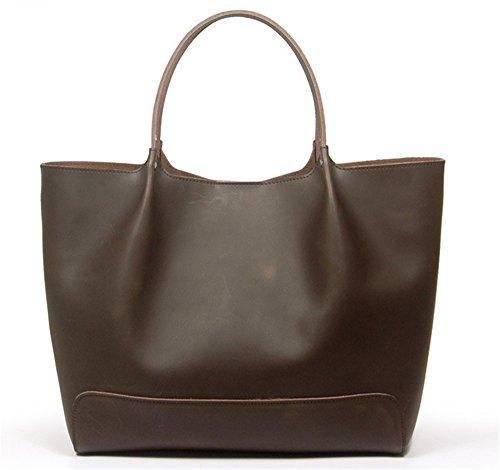 Xinmaoyuan Borse donna vera pelle combinazione sacchetto Borsetta in pelle morbida e Casual Big Bag,giallo Nero caffè
