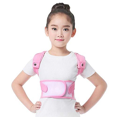 Kinder Geradehalter Rücken Bandage Einstellbar Voll Zurück Schulter Lendenwirbel Taille Unterstützung Gürtel,Haltungskorrektur (Farbe : Pink, größe : M)