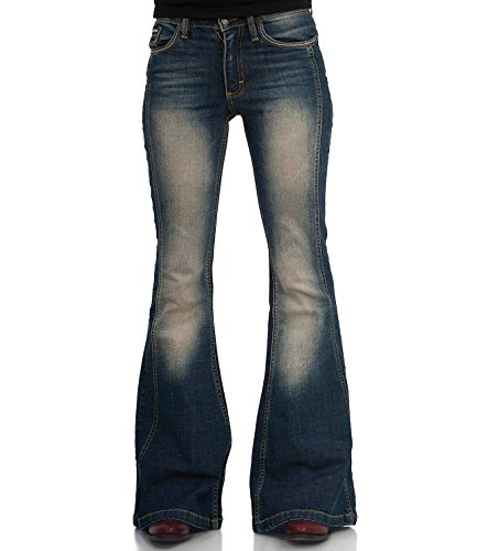 COMYCOM 70er Used Look Stretch Jeans Schlaghose Star Passion 34/34