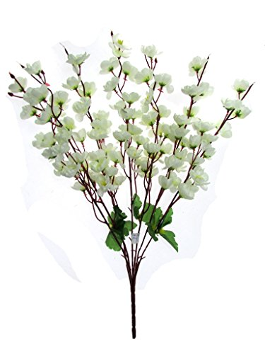 Fourwalls Artificial Peach Blossom Flower Bunch (7 Branches, White)