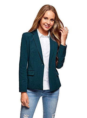 oodji Collection Damen Klassischer Taillierter Blazer, Grün, DE 36 / EU 38 / S (Klassische Drei-knopf-blazer)