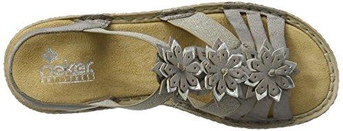 Rieker Damen 65858 Offene Sandalen mit Keilabsatz Grau (grey/argento / 40)