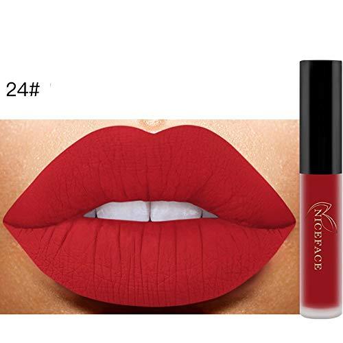 Bluestercool 26 Couleurs Rouge à Lèvres Liquide Mat Waterproof Hydratant Brillant Maquillage à Lèvres (9.8*1.5*1.5, 24#)