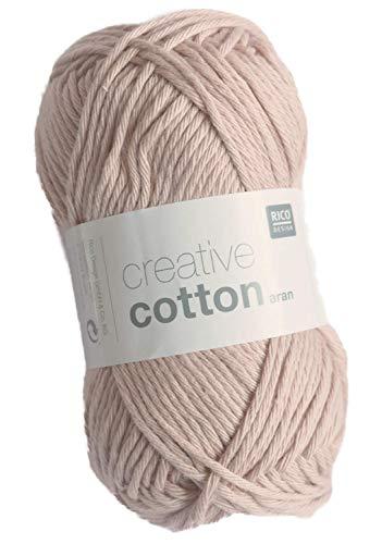 Rico creative Cotton Aran Fb. 06 Altrosa, Baumwollgarn zum Stricken und Häkeln, Häkelwolle -