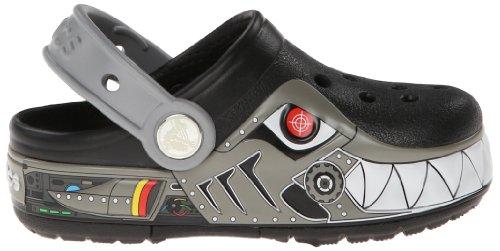 Crocs Crocband Lights Robo Shark PS, Zoccoli e sabot, Unisex - bambino Nero (Black/Silver)