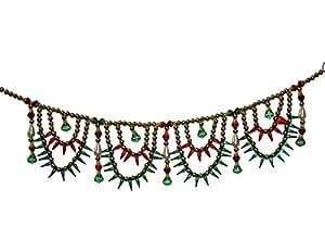Desi Handicrafts crystal Beads Golden Jula Mandir Toran - (36 cms)