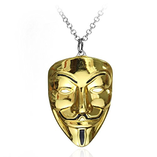 HS86 V wie Vendetta Maske Kette Gold Halskette Anonymous Vendetta Guy Fawkes (Top Guy Kostüm)