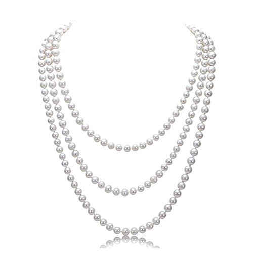 (1920s Perlen Halskette - 20er Jahre Halskette Damen Gatsby Perlen Kette Kostüm Accessoires Imitation Lange Perlen Kette Retro Hochzeit Braut Halskette mit Kristall)