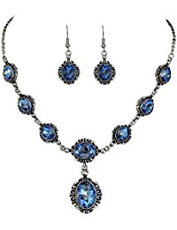 Elegantes Trachtenschmuck Dirndl Collier Set - bestehend aus Collier und Brisur Ohrringen - Light Sapphire Blau