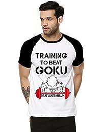Fanideaz Cotton Training To Beat Goku DBZ Half Sleeve Raglan T Shirt For Men