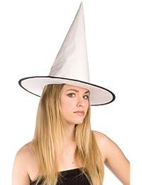 Haunted House - Sombrero de bruja charol, color blanco (Rubies S9004)