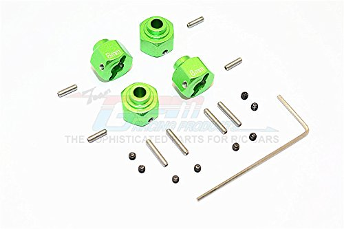 Preisvergleich Produktbild Axial SMT10 Grave Digger (AX90055) & Yeti SCORE (AX90068) Tuning Teile Aluminium Wheel Hex (+2mm) - 4Pcs Set Green