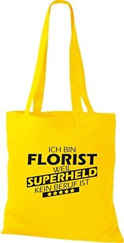 Shirtstown Stoffbeutel Ich bin Florist, weil Superheld kein Beruf ist gelb