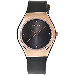 Women's Watch Rital Rose Gold Metal Case Black Dial with Crystals Black Band / Simple Clean Design