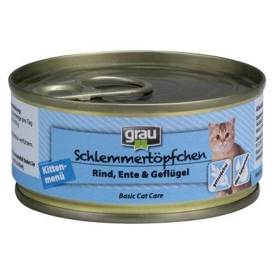 Grau Kitten getreidefrei mit Rind, Ente & Geflügel 6 x 100g (Kitten Grau)