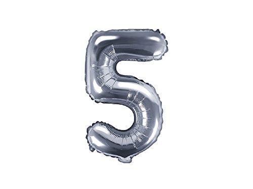 SiDeSo® Folienballon 35cm SILBER Heliumgeeignet Party Geburtstag Jahrestag Hochzeitstag Jubiläum Zahlenluftballon Luftballon Buchstabe Zahl Alphabet (Zahl 5)