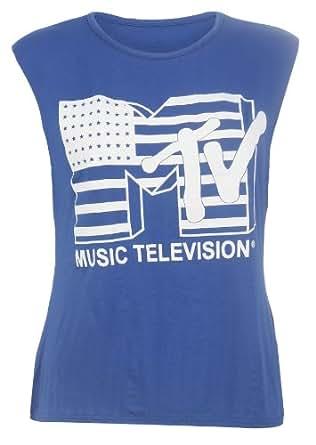Womens MTV American Flag Print Viscose Jersey Top / Size 8-14 - £5.99 (SM - UK(8-10), Royal Blue)