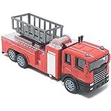 GoMerryKids 1:60 Die Cast Metal Fire Engine Light & Sound Pull Back Truck (Red)