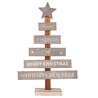 Diadia Christmas Tree Decoration Xmas Tree Ornaments Mini Wooden Merry Christmas for Party, Curtain, Patio, Garden, Decorative Home Decor (Grey)