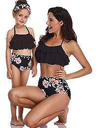 HEARTBEAT Traje De Baño Europeo Y Americano para Mujer, Traje De Baño Estampado De Bikini De Cintura Alta para Padres E Hijos, Verano