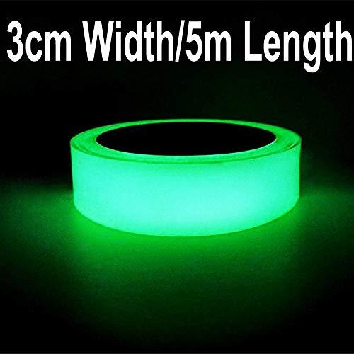 Gebildet 5m x 3cm Nastro Luminoso, Nastro Fluorescente Adesivo, Nastro Bagliore Nel Buio, Verde Fluorescente Luminoso Nastro, Luminous Tape Glow in the Dark: Impermeabile Rimovibile Sicuro