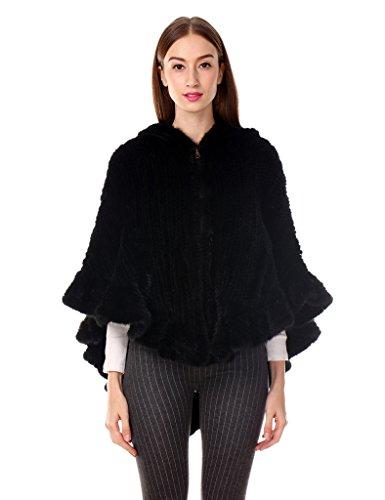 Ferand - mantella di pelliccia di visone con cappuccio lavorata a maglia autunno e inverno - donna - nero
